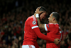 30-9-2015 ENG: UEFA Champions League Manchester United - VfL Wolfsburg, Manchester<br /> Chris Smalling of Man Utd celebrates after scoring their 2nd goal. Memphis Depay<br />  Photo: Simon Stacpoole / Offside.<br /> <br /> ***** NETHERLANDS ONLY ******