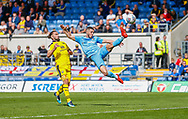 Coventry City midfielder Jordan Shipley (26) performs an acrobatic kick during the EFL Sky Bet League 1 match between Oxford United and Coventry City at the Kassam Stadium, Oxford, England on 9 September 2018.