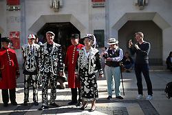 © Licensed to London News Pictures. 27/09/2015. London, UK. Pearly Kings and Queens gather in Guildhall Square for a Harvest Festival celebration. Photo credit: Peter Macdiarmid/LNP