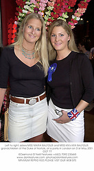 Left to right, sisters MISS MARIA BALFOUR and MISS KINVARA BALFOUR, grandchildren of the Duke of Norfolk, at a party in London on 31st May 2001.OOT 77