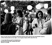 Scene  on the Terrace of Chateau Marmont during a party given by the Ford Models Agency. ( Writer Marina Rust on far right. )  Los Angeles. March 1995. Film 95537/26<br />© Copyright Photograph by Dafydd Jones<br />66 Stockwell Park Rd. London SW9 0DA<br />Tel 0171 733 0108