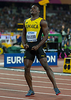 Athletics - 2017 IAAF London World Athletics Championships - Day Four, Evening Session<br /> <br /> Mens 110m Hurdles Final<br /> <br /> Omar McLeod (Jamaica) after he won the 110m hurdle final<br /> <br /> at the London Stadium<br /> <br /> COLORSPORT/DANIEL BEARHAM