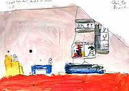"""""""Bad Day"""" by Qais age 10, from Damascus, Syria. """"We were in the war, and then we disappeared to Vienna, and then we saw the news, and it was sad."""""""