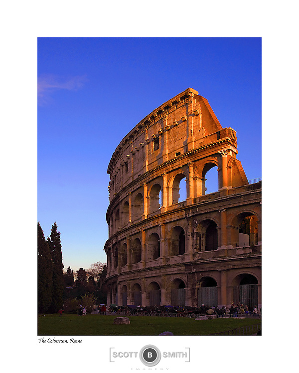 Detail view of Rome, Italy's Colosseum in late afternoon sunlight.