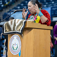 Honorable Amber Kanazbah Crotty, of the 24th Navajo Nation Council, gives the invocation for the ceremony. The Inauguration ceremony was held at the Bee Holdzil Fighting Scouts Events Center in Window Rock on Tuesday.