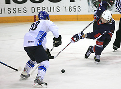 Antti Pihlstrom and David Booth (7) of USA at play-off round quarterfinals ice-hockey game USA  vs Finland at IIHF WC 2008 in Halifax,  on May 14, 2008 in Metro Center, Halifax, Nova Scotia,Canada. Win of Finland 3 : 2. (Photo by Vid Ponikvar / Sportal Images)
