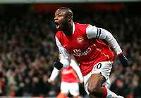 Photo: Tom Dulat/Sportsbeat Images.<br /> <br /> Arsenal v Wigan Athletic. The FA Barclays Premiership. 24/11/2007.<br /> <br /> Arsenal's William Gallas celebrates his goal for the team. Arsenal leads 1-0