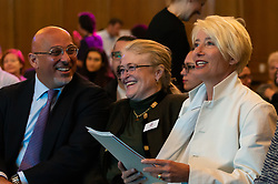 Children's Minister Nadhim Zahawi, Food Foundation Chair Laura Sandys and Dame Emma Thompson at the launch of the Children's Future Food Inquiry at Church House in Westminster. London, April 25 2019.