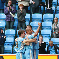 Photo: Mark Stephenson.<br /> Coventry City v Hull City. Coca Cola Championship. 18/08/2007.Coventry's Leon McKenzie celebrates with team mates
