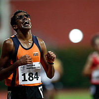 Jeevaneesh S/O Soundarajah of National University of Singapore reacts as he crosses the finish line during the men's 10000m event. (Photo © Lim Yong Teck/Red Sports) The 2018 Institute-Varsity-Polytechnic Track and Field Championships were held over three days in January.<br /> <br /> Story: https://www.redsports.sg/2018/01/15/ivp-day-one/<br /> <br /> Story: https://www.redsports.sg/2018/01/18/ivp-day-two/<br /> <br /> Story: https://www.redsports.sg/2018/01/23/ivp-day-three/
