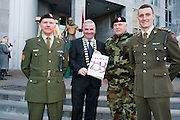Galway launches 200 Gatherings ! Come home to Irelands Cultural Heart  with help of First Batallion Gathering  Dick O Halloran Galway County Mayor Cllr Tom Welby Paul Madden Captain Brian Carroll   at Aras An Contae. Picture Andrew Downes.