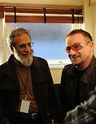 Yusuf Islam (Cat Stevens) with Bono (U2) backstage Island 50 concerts Hammersmith Empire - London 2009