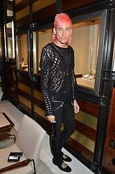 KYLE DE'VOLLE at a party to celebrate the opening of the jeweller Ara Vartanian's Flagship Store 44 Bruton Place, London on 7th September 2016.
