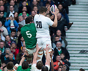 Twickenham, England, 23rd February,  [L] James RYAN, and Charlie EWELS, contest the line out ball, during the Guinness Six Nations, International Rugby, England vs Ireland, RFU Stadium, United Kingdom, [Mandatory Credit; Peter SPURRIER/Intersport Images]