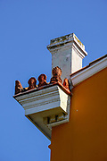 Building with orange stucco in Central Athens