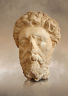 Roman sculpture of the Emperor Marcus Aurelius, excavated  from Carthage made circa 161-180 AD. The Bardo National Museum, Tunis, Inv No: C.965 .<br /> <br /> If you prefer to buy from our ALAMY STOCK LIBRARY page at https://www.alamy.com/portfolio/paul-williams-funkystock/greco-roman-sculptures.html . Type -    BARDO    - into LOWER SEARCH WITHIN GALLERY box - Refine search by adding a subject, place, background colour, museum etc.<br /> <br /> Visit our CLASSICAL WORLD HISTORIC SITES PHOTO COLLECTIONS for more photos to download or buy as wall art prints https://funkystock.photoshelter.com/gallery-collection/The-Romans-Art-Artefacts-Antiquities-Historic-Sites-Pictures-Images/C0000r2uLJJo9_s0c