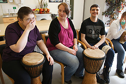 Drumming class for people with learning disabilities.