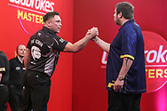 Gerwyn Price wins his quarter final tie against Adrian Lewis during the PDC Ladbrokes Masters 2021 at Marshall Arena, Milton Keynes, United Kingdom on 31 January 2021.