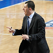 Efes Pilsen's coach Ufuk SARICA during their Turkish Basketball league derby match Efes Pilsen between Fenerbahce Ulker at the Sinan Erdem Arena in Istanbul Turkey on Sunday 24 April 2011. Photo by TURKPIX