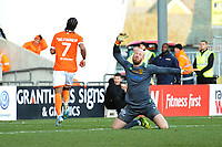 Blackpool's Nathan Delfouneso wheels away in celebration after scoring his side's third goal <br /> <br /> Photographer Kevin Barnes/CameraSport<br /> <br /> Emirates FA Cup Second Round - Blackpool v Maidstone United - Sunday 1st December 2019 - Bloomfield Road - Blackpool<br />  <br /> World Copyright © 2019 CameraSport. All rights reserved. 43 Linden Ave. Countesthorpe. Leicester. England. LE8 5PG - Tel: +44 (0) 116 277 4147 - admin@camerasport.com - www.camerasport.com