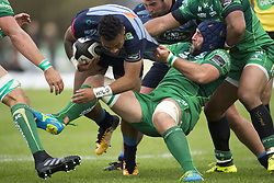 September 23, 2017 - Galway, Ireland - Willis Halaholo of Cardiff tackled by John Muldoon of Connacht during the Guinness PRO14 Conference A match between Connacht Rugby and Cardiff Blues at the Sportsground in Galway, Ireland on September 23, 2017  (Credit Image: © Andrew Surma/NurPhoto via ZUMA Press)