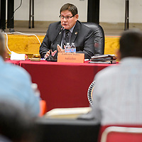 Navajo Nation speaker LoRenzo Bates leads a meeting of the Navajo Nation Council at the Navajo Department of Education in Window Rock Monday.