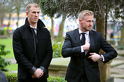 Burnley Goalkeeper Joe Hart (left) and Leicester City goalkeeper Kasper Schmeichel arrive for the funeral service for Gordon Banks at Stoke Minster.