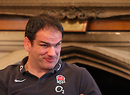Martin Johnson looks on at a press conference with writers during the England elite player squad trainnig session at Pennyhill Park, Bagshot, UK, on 11th March 2011  (Photo by Andrew Tobin/SLIK images)