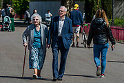 On any other day this would be normal behaviour but people passing by an old couple do not think to give them sufficient room - - Battersea Park is reasonably busy,  and generally people maintain some social distance, as the sun is out and it is warmer. The 'lockdown' continues for the Coronavirus (Covid 19) outbreak in London.