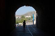 Walkway in former railway tunnels between La Cala del Moral and Rincon de la Victoria, Malaga province, Spain