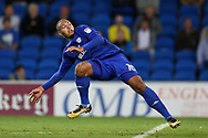Kenneth Zohore of Cardiff city in action. EFL Skybet championship match, Cardiff city v Sheffield Utd at the Cardiff City Stadium in Cardiff, South Wales on Tuesday 15th August 2017.<br /> pic by Andrew Orchard, Andrew Orchard sports photography.