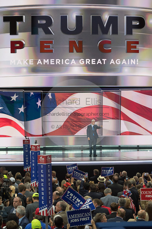 Gov. Mike Pence waves after accepting the nomination as GOP Vice Presidential  candidate during the third day of the Republican National Convention July 20, 2016 in Cleveland, Ohio.