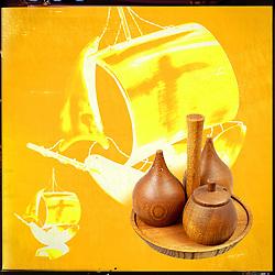 Vintage retro wooden mid century condiment set with ship orange ornament ground