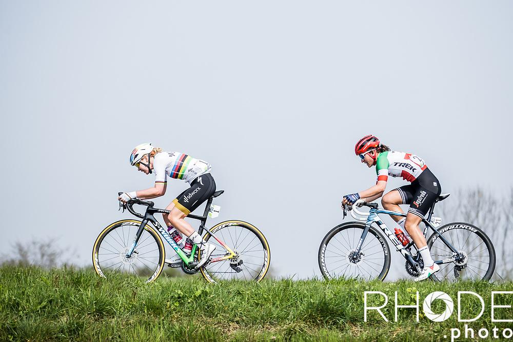 World Champion Anna van der Breggen (NED/SD Worx) and  Italian National Champion Elisa Longo Borghini (ITA/Trek Segafredo)<br /> <br /> 24th la Flèche Wallonne Féminin 2021 (1.UWT)<br /> 1 Day Race: Huy – Huy 130,5km<br /> <br /> ©RhodePhoto
