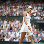 LONDON, ENGLAND - JULY 15:  Garbine Muguruza of Spain in action against Venus Williams of The United States in the Wimbledon Lawn Tennis Championships at the All England Lawn Tennis and Croquet Club at Wimbledon on July 15, 2017 in London, England. (Photo by Tim Clayton/Corbis via Getty Images)