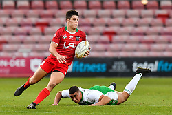 11th November 2018 , Racecourse Ground,  Wrexham, Wales ;  Rugby League World Cup Qualifier,Wales v Ireland ; Josh Ralph of Wales on the attack<br /> <br /> <br /> Credit:   Craig Thomas/Replay Images