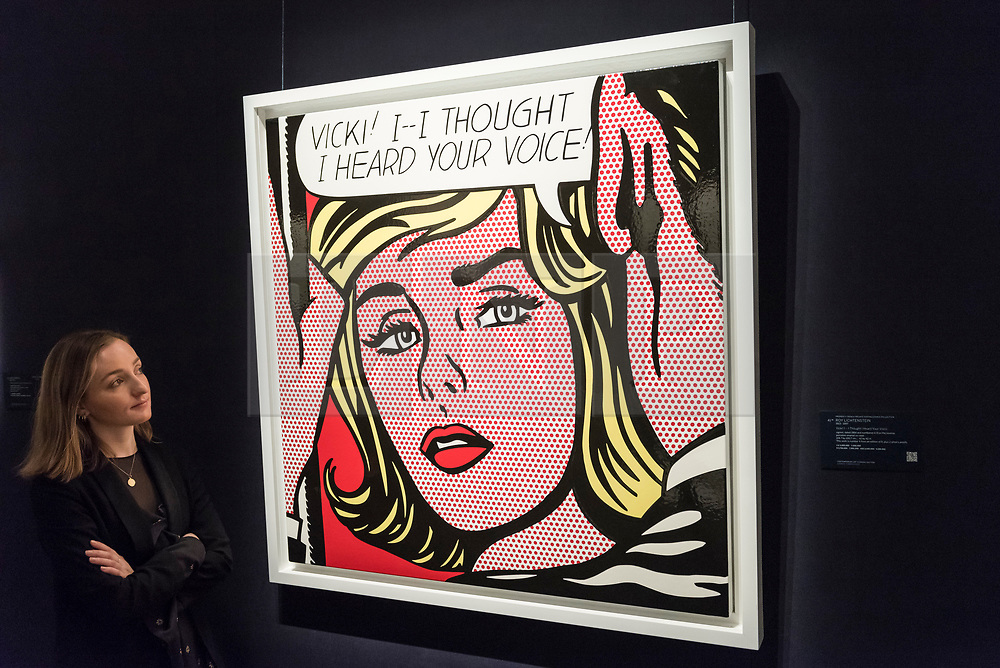 © Licensed to London News Pictures. 01/03/2019. LONDON, UK. A staff member views ''Vicki! I -- I Thought I Heard Your Voice'', 1964, by Roy Lichtenstein, (Est. £5,000,000 - 7,000,000).  Preview of Sotheby's Contemporary Art Sale in their New Bond Street galleries.  Works by artists including Tracey Emin, Jenny Saville, Jean-Michel Basquiat and Andy Warhol will be offered for auction on 5 March 2019.  Photo credit: Stephen Chung/LNP