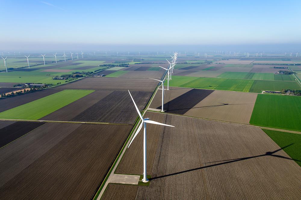 Nederland, Flevoland, Zeewolde, 28-10-2014;  Amalia windpark.<br /> Windfarm.<br /> <br /> luchtfoto (toeslag op standard tarieven); aerial photo (additional fee required); copyright foto/photo Siebe Swa