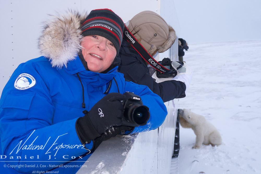 """Nicky on the job on the back deck of the Tundra Buggy. """"Hey Nicky, don't look now but there's polar bear behind you."""""""