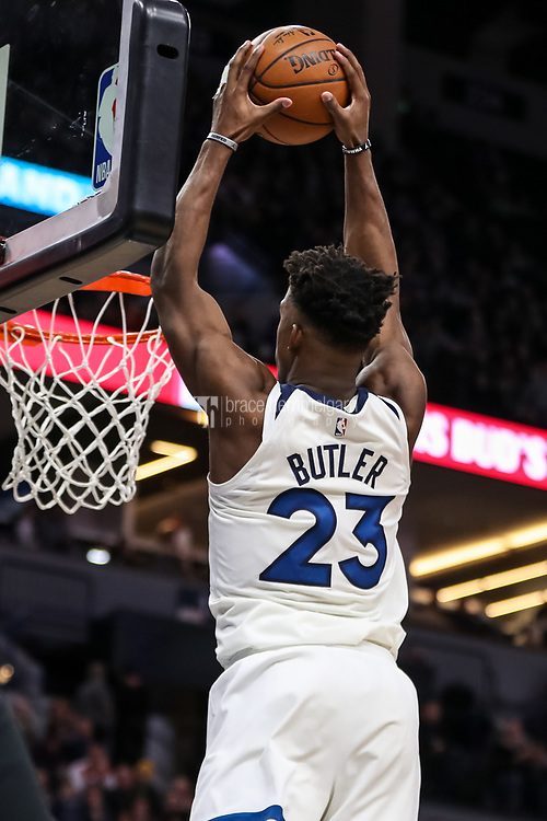 Feb 15, 2018; Minneapolis, MN, USA; Minnesota Timberwolves guard Jimmy Butler (23) dunks during the fourth quarter against the Los Angeles Lakers at Target Center. Mandatory Credit: Brace Hemmelgarn-USA TODAY Sports