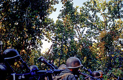 Dailekh, 02 March 2005... Soldiers of the Royal Nepal Army are marching towards Dailekh.