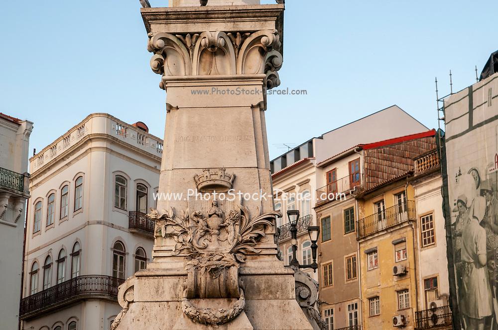 Base of the Statue of Joaquim Antonio de Aguiar in Largo da Portagem square, Coimbra, Centro Region, Portugal