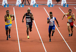 Austin Hamilton of Sweden, Marvin Rene of France, Theo Etienne of Great Britain and Ángel David Rodríguez of Spain compete in the 60m Men heats on day two of the 2017 European Athletics Indoor Championships at the Kombank Arena on March 4, 2017 in Belgrade, Serbia. Photo by Vid Ponikvar / Sportida