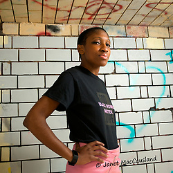 """A portrait of Eternity in her """"Black Lives Matter"""" T-shirt and pink mini-skirt."""