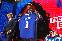 April 26, 2018 - Arlington, TX, U.S. - ARLINGTON, TX - APRIL 26:  Tremaine Edmunds holds up a jersey and takes a photo after being chosen by the Buffalo Bills with the 16th pick during the first round at the 2018 NFL Draft at AT&T Statium on April 26, 2018 at AT&T Stadium in Arlington Texas.  (Photo by Rich Graessle/Icon Sportswire) (Credit Image: © Rich Graessle/Icon SMI via ZUMA Press)