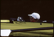 Molesey, Great Britain. GBR M4+ cox, Vaughan THOMAS, 1992 British International Rowinig Training on the Molesey Reach, Surrey,  [Mandatory Credit. Peter Spurrier/Intersport Images] +1992 +Molesey +Henley 1992 GBRowing Training, Molesey/Henley, United Kingdom