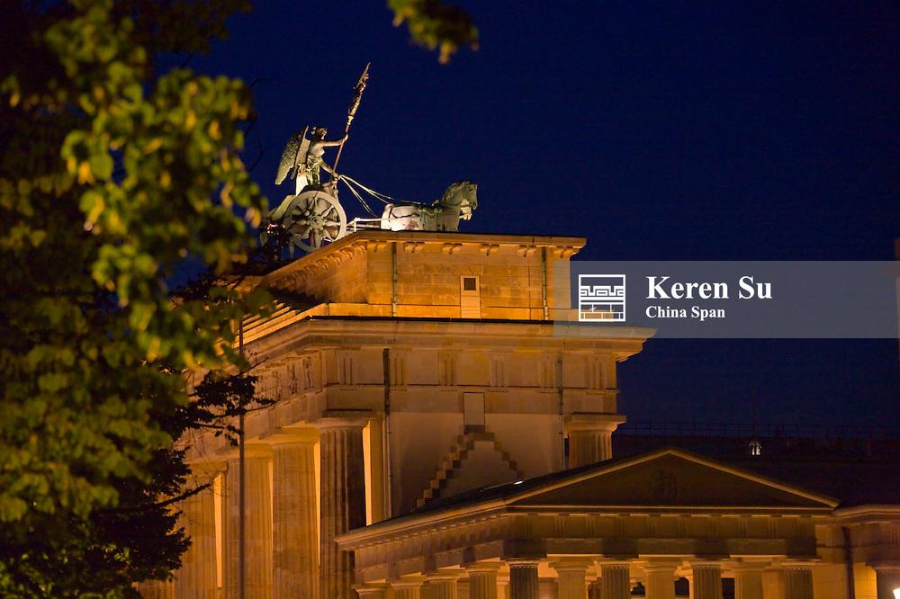 Night view of Quadriga Statue on Brandenburg Gate, Berlin, Germany