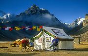 Trekkers outside Tibetan tent with prayer flags, Lhonak, Kangchenjunga, East Nepal