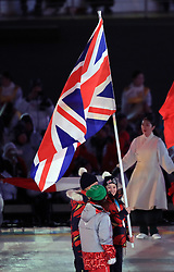 Grest Britain's Menna Fitzpatrick carries the flag during the Closing Ceremony for the PyeongChang 2018 Winter Paralympics in South Korea.