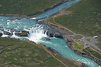Godafoss waterfall on the Skjalfandafljot River, northern Iceland - aerial